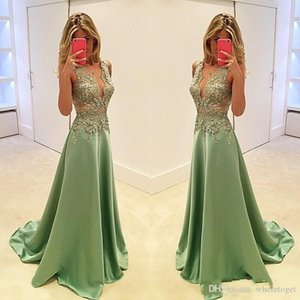 2020 Sexy Evening Dresses V Neck Green Satin Lace Appliques Beaded Illusion Long Prom Gowns Plus Size Formal Party Dress