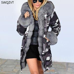 SWQZVT Women's Autumn Winter Parkas Cotton Warm Plush Hooded Women Long Coat 2020 New Fashion Womens Clothing Parka