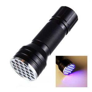 395nm 21LED ultraviolette Taschenlampe Licht-Lampe Mini UV-Blitz-Licht für Schwarzlicht Invisible Erkennung Finder CYZ2544 50Pcs