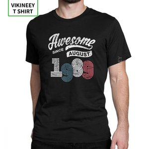 Man T Shirt Awesome Since August 1989 Shirt Vintage 29th Birthday T-Shirt Awesome Short Sleeves Tees Clothes Cotton Plus Size