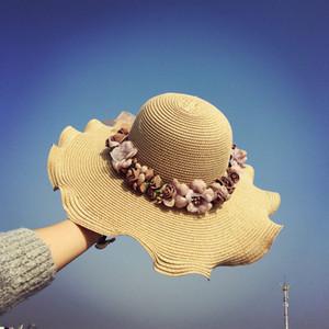 dalgalı hasır şapka plaj güneş gelgit yay Kore Straw'un güneş kremi tarzı büyük kenar güneş şapka çocuk yaz plaj çiçek