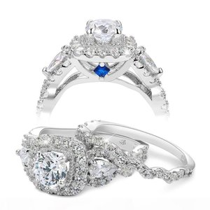 New Arrival Size 5-10 2pc 925 Sterling Silver Jewelry Halo Wedding Ring Sets For Women JR5249