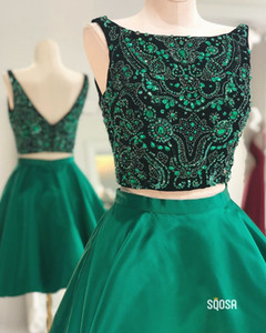 Fashion Emerald Jewel Neck Short Homecoming Prom Dress Crystal Top Beaded A line Satin Ruched Cheap Party Graduation Cocktail Dress