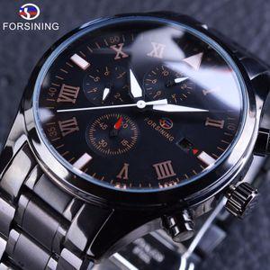 Forsing Men's Full Automatic Mechanical Watch Three Eyes Six Needle Waterproof Steel Strip Men's Watch