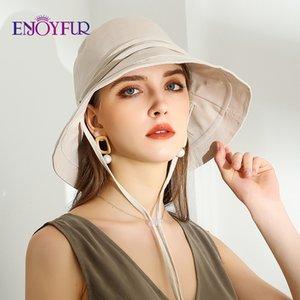 ENJOYFUR Women Cotton Summer Sun Hats Wide Brim Foldable Fashion Beach Hat Adjustable Lace-up UV Sun protection Female Cap New Y200619