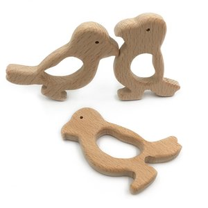 1Pcs DIY Beech Animals Woodpecker Shape Handmade Baby Wooden Teether Food Grade Pacifier Chain 3C Certification Wooden Baby Toys
