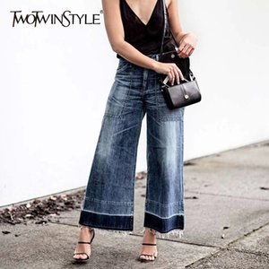 TWOTWINSTYLE Denim Wide Leg Pants Female High Waist Jeans Women Trousers with Big Pockets Casual Clothes Korean 2020 Autumn New