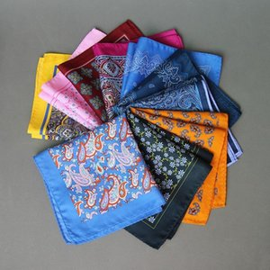 Hot New Popular 34 X 34 CM Men Paisley Flower Dot Pocket Square Men Paisley Casual Hankies for Men Suit Big Size Handkerchief