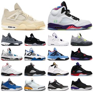 nike air jordan retro 4 5 off white Chaussures de basket-ball pour hommes Jumpman 4s Sail Black Cat Bred blanc Green 5s Alternate Grape Bel 3s 3 Varsity Royal hommes femmes baskets