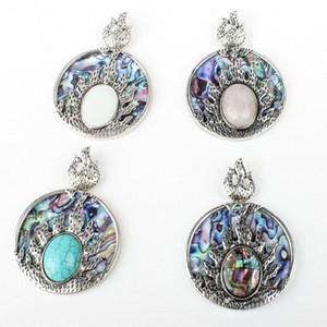 Natürliche Shell-runde hängende Halskette Natürliche Abalone Shell Material DIY machen Halskette Schmuck Accessoires ZMM4 #
