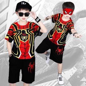 Summer Boys Cotton T-Shirt Tops+Pants Sets Casual Cartoon Print Outfits Short Sleeve T-Shirt Kids Clothing Suits
