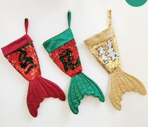 Sequined Mermaid Tail Christmas Stocking Fishtail Santa Claus Candy Gift Bag Holders Xmas Socks Party Home Decorative