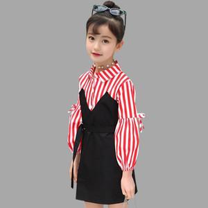 Abesay automne manches longues robes pour filles rayées filles Robes Mode enfants adolescents hiver d'enfants Vêtements 6 8 12 ans