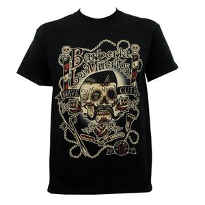 Authentic Lucky 13 Barberia Los Muertos Barber Shop Rockabilly T-Shirt S-5xl New T Shirts 2020 Brand Hipster Slim Fit Printing