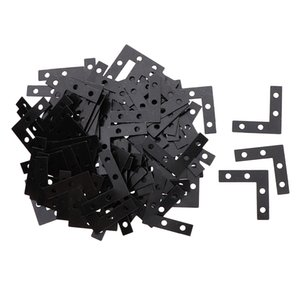 100 Pieces Metal L Shaped Flat Fixing Mending Repair Plates Corner Brace Brackets, 38 x 38mm   1.5 x 1.5inch, Hole Dia 4mm
