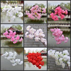 50pcs Weiße künstliche Kirschblüten Ast Blume Wandbehang Sakura Baumstamm für Hochzeit Mittel Künstliche dekorative Blumen