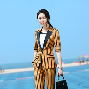 Women's Two Piece Pants Plus Size S-4XL Suit Two-piece High-quality Business Feminine 2021 Spring And Summer Slim Striped Blazer