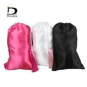 Stock blank 18x30cm satin silk packaging bag for virgin hair extensions or hair bundle gift white black hot pink color option