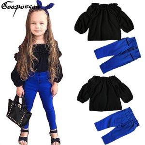 GOOPORSON meninas Roupa Set Crianças Outono Preto Chiffon shirt + azuis Pants Set Roupa das Crianças Conjuntos Conjuntos Baby Girl Moda