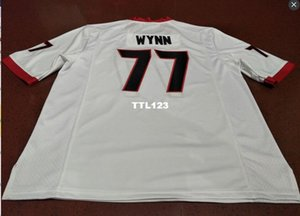 Men # 77 Isaia Wynn Georgia Bulldogs SIZE S-4XL rosso bianco nero universitario Jersey o abitudine qualsiasi nome o numero di maglia