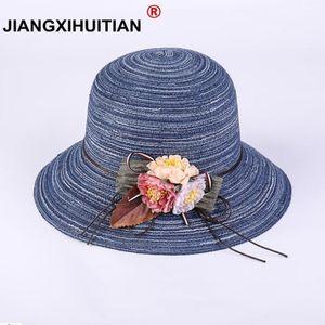 2020 Summer New Hot Fashion Female Casual Straw Simple Classic Hats Caps Women Korean Folding Flower Beach Sun Hats