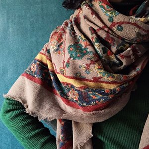 RJCC vello lana cotta Buddha in stile Brahma caldo e sciarpa scialle caldo confortevole barba folta pelliccia estesi sciarpa scialle