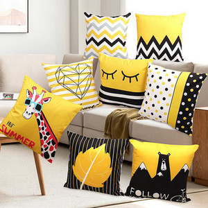 Cushion Cover Yellow Geometric Decorative Pillow Case Sofa Throw Pillow Covers Bedding Accessories Supplies 24 Designs OEM Available DW5576