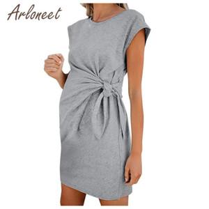 ARLONEET Abbigliamento Donne Abito di maternità Lace Up manica corta solido allattamento al seno Summer Dress Lady gravidanza vestiti casuali