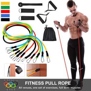 11pcs / set Tração da corda faixas da resistência da aptidão Set Formação Yoga faixa elástica de látex de borracha Expander Home Fitness Equipment FFA4243-3