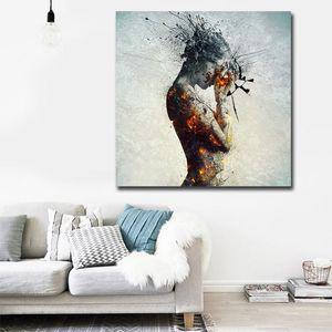 Résumé Wall Art Femme nue Peinture à l'huile Affiches Aquarelle Sexy Girl Prints mur photos pour Living Room Modern Home Decor