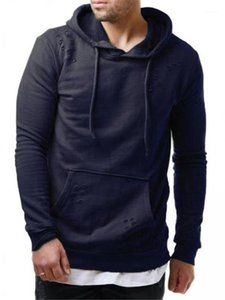 Clothing Holes Hooded Hoodies Mens Designer Pullover Casual Popular Sweatshirts Fashion Mens Solid Color Long Sleeve