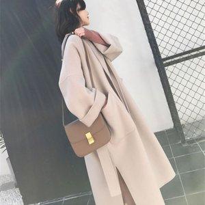 Wool Trench Coat giacca invernale Autunno Moda Donna con cinghie in stile coreano di lunghezza media Autunno allentato Cappotto con tasca
