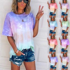2020 Mode Frauen Kleidung Regenbogen T-Shirt Damen Tie-Dye Gradient Rainbow Short T-Shirt Mutterschaft Tops T-Shirts Kleidung M1382