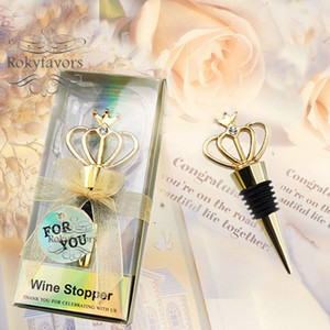 20PCS Golden Crown Wine Stopper Wedding Favors Anniversary Keepsake Event Giveaways Birthday Gifts Bridal Shower Bottle Stopper