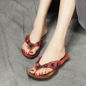 YourSeason лето Женщины Вьетнамки из натуральной кожи 2020 Новый цветок обувь Flat С Вне Wear Женские пляжные тапочки