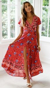 2020 Uk Mulheres Vestido Boemia V Neck Floral Split Dress Boho Summer Beach Casual Long Sundress Hua Sexy Loose Dress