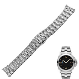 Rolamy 24mm 316L Stainless Steel Watch Band Silver Double Push Clasp