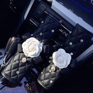 Universial 1PC Crystal Rhinestones Camellia Flower Women Leather Hand Brake Gear Cover Seat Belt Car Interior Accessory Jtkr#