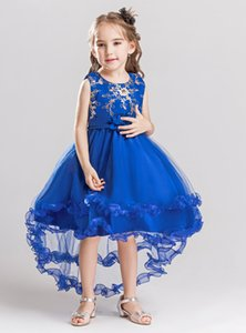 2020 Real Photo Royal Blue Gold Embellish Girls Pageant Dresses Ball Gown Sequin Beaded Kids Prom Evening Party Flower Girls Dress