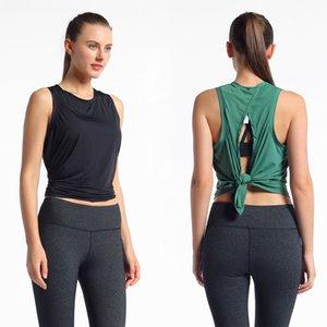 LU-71 Nueva Yoga Mujeres lu Chaleco Tops Camiseta atractiva deportes desnuda de tiras chaleco femenino del Bowknot del arco Volver Pullover blusa