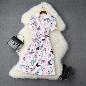 2020 Summer Short Sleeve V Neck Pink Butterfly Print Ribbon Tie Bow Panelled Single-Breasted Dress Elegant Casual Shirt Dresses L10T11056