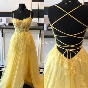 Side High Split Yellow Prom Dresses 2020 Lace Appliques Illusion Corset Back Graduation Celebrity Party Gowns Evening Vestidos