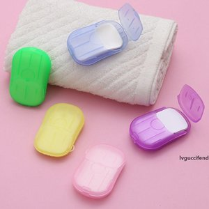 1000sets Mini Soap Paper 20pcs set Disposable Soap Paper Hand Washing Box Scented Slice Sheets Outdoor Travel Portable Clean Tools DHL Free