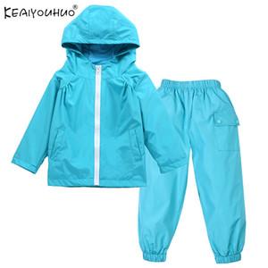 Дети Одежда Девочки Комплекты KEAIYOUHUO 2020 Весна водонепроницаемый плащ мальчиков Одежда наборы Zipper Hooded Детские Casual спортивные костюмы