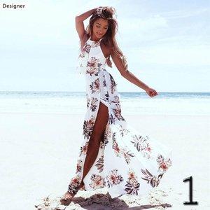 Manches de vacances Robe Femmes Jupe longue d'été de la plage Imprimer Splicing maillot de bain Sun