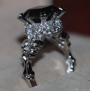 Jóias Victoria Wieck Vintage de ouro Rodada 10KT Branco Cheio Preto Sapphire gemas Simulado Diamante Mulheres casamento da faixa Crânio Anel SZ5-11