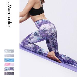 Nuevos deportes apretados pantalones de yoga de impresión femenina pantalones elásticos de cintura alta de yoga gimnasio polainas nueve minutos