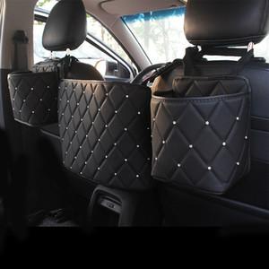 Кристалл Rhinestone Кожа PU автомобилей хранения сумка Организатор Барьер Backseat Holder Multi-Карманы автомобиля Контейнер закладочных уборки