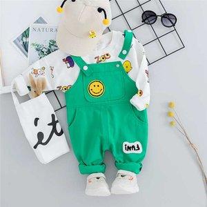 HYLKIDHUOSE 2020 niño de la ropa infantil juegos del otoño de los bebés arropan la camiseta de la historieta del Bib Pantalones Baby traje de los niños
