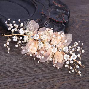 FORSEVEN Silk Yarn Flower Crystal Pearl Headpieces Headbands Bride Noiva Wedding Hair Jewelry for Women Girls Hair Ornament